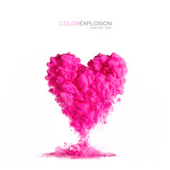 ink cloud pink heart-shaped on white. Color Explosion