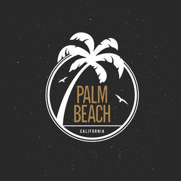 California beach t-shirt vector graphics. Vintage style illustration.