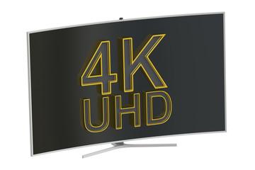 Curved 4K UltraHD TV, 3D rendering