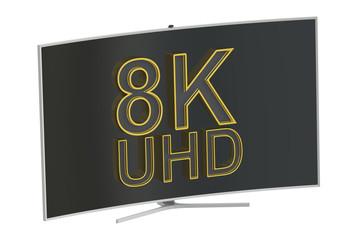 Curved 8K UltraHD TV, 3D rendering