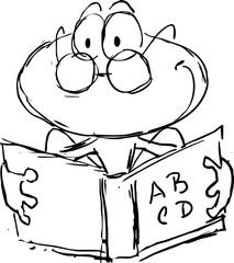 frog reading in book cartoon - vector illustration sketch