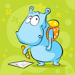 cute hippo cartoon with school bag and pencil - vector illustration