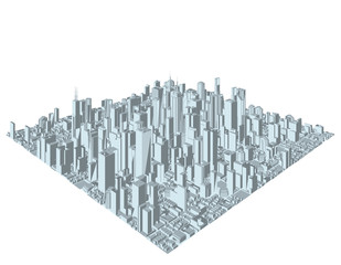 3D model of city on white background. Vector.