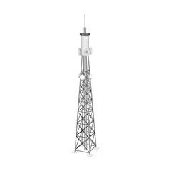 3d Radio Tower. Vector outline illustration.