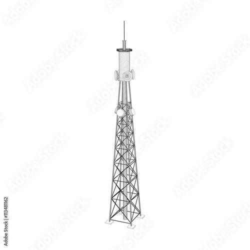 3d Radio Tower  Vector outline illustration
