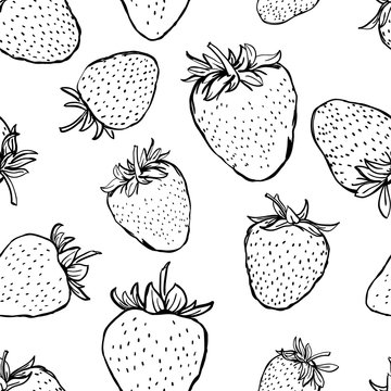 Vector seamless pattern with strawberries. Hand draw black white background with berries. Design for fabric, textile print, wrapping paper. Healthy food illustration.