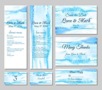 Wedding card collection - save the date, menu, bar menu, invitation, table cards and rspv card. Marine wedding set with beautiful hand drawn watercolor background