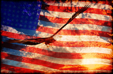 Eagle at sunset background with american flag - 3D rendering