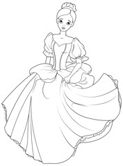 Running Cinderella Coloring Page