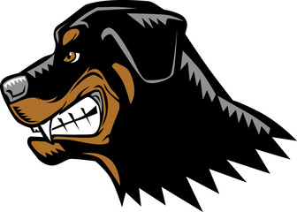 Cartoon of an angry rottweiler