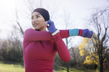 Mid adult woman exercising