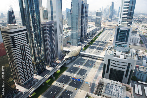 Aerial View Of City Street Amidst Buildings Stock Photo And Royalty