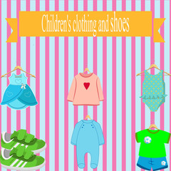 Fotobehang Hoogte schaal children's clothing store. baby clothes on white pink background