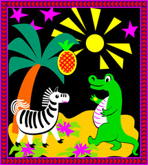 Illustration of crocodile and zebra playing, vector cartoon image.