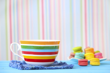 Stock Photo:.colorful coffee cups over vintage background