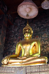 golden buddha statue with thai painting background