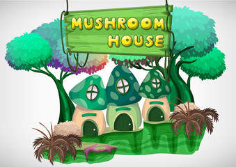 Seamless cartoon vector mushroom house with separated layers for game and animation, game design asset