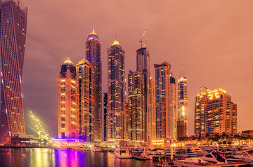 Dubai, United Arab Emirates: Marina at night