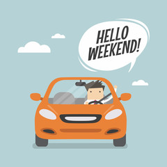 Papiers peints Cartoon voitures Businessman traveling by car and say Hello weekend.