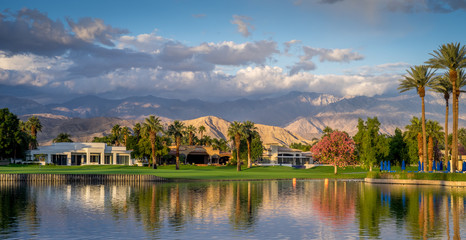 Panorama of a Water feature on a golf course in Palm Desert.