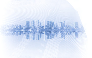 Reflected modern cityscape, abstract image visual