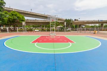 Outdoor basketball court in local school