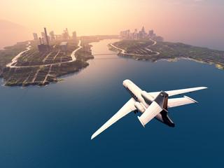 Modern aircraft flies over the island.3d render Wall mural
