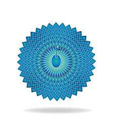 Blue abstract peacock vector logo