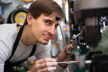 engaged professional making key