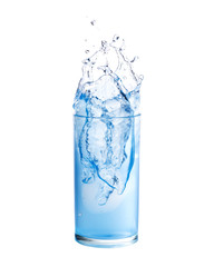 Water splashing out of a glass., Isolated white background.