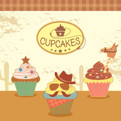 Illustration vector of cupcakes with cowboy theme concept party.Design for Bakery cafe or cakes shop.