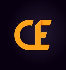 CE Two letter composition for initial, logo or signature