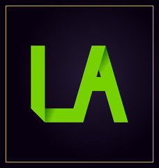 LA Two letter composition for initial, logo or signature.