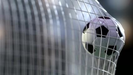 soccer ball in the net. 3d rendering.
