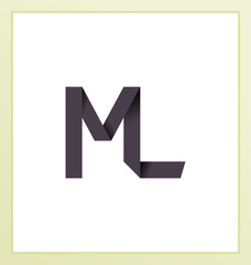 ML Two letter composition for initial, logo or signature.