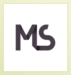 MS Two letter composition for initial, logo or signature.