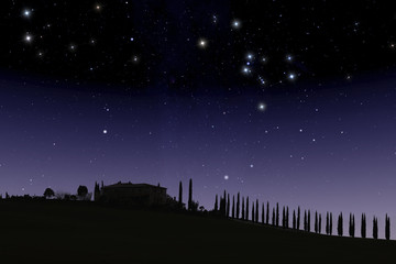 Tuscan farm under starry sky