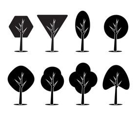 Set of icons of trees. Vector element for your creativity