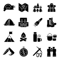 Mountain Climbing Icon Set