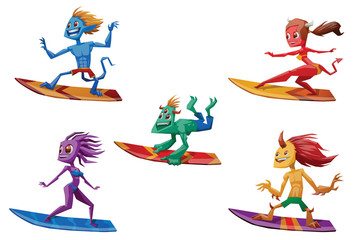 Vector set of cartoon images of different colors females and males monsters of surfing standing on surfboards in the center on a white background. Sea, surf, beach, leisure. Vector illustration.
