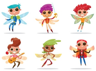 Vector set of cartoon images of cute male fairies with big eyes, butterfly wings and with different hair color on a white background. Positive characters. Vector illustration.