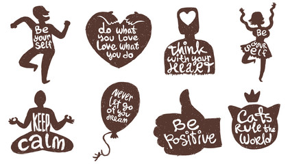 Vector set of eight motivational cards with cartoon images of black silhouettes of cat's head, heart, man, woman, balloon and hand with variety of motivational inscriptions on a white background.