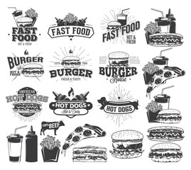 Fast Food Label, Logos and design elements