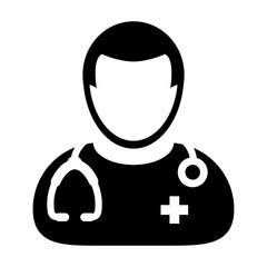 Doctor Icon - Vector Physician With Stethoscope and Cross Symbol in Glyph Pictogram illustration