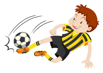 Football player kicking ball