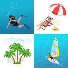 Beach icon set. Girl in a swimsuit on a deck chair, Scuba diver, sun umbrella, palm, Windsurfer on a board for windsurfing. Flat 3d vector isometric illustration.