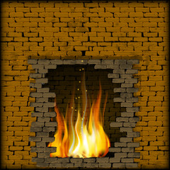 fireplace fire in the old stone wall
