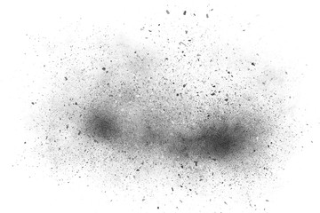 Black abstract powder explosion on a white background