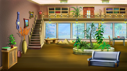 Cartoon Interior Design of Vintage Living Room Background