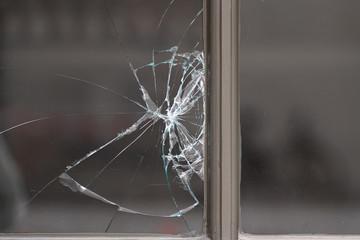 Shattered glass pane
